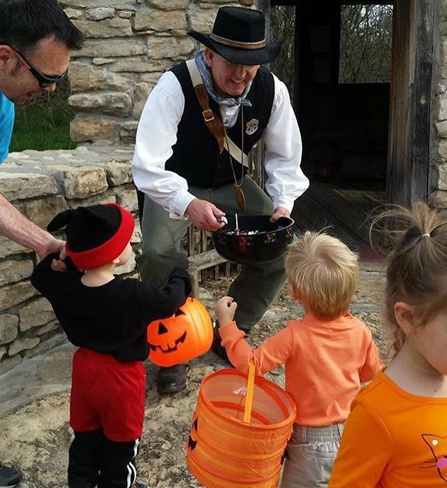 Kid Safe Halloween today at #KCParks Shoal Creek Living History Museum in Hodge Park Today 11a-3p.
